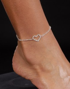 Open Heart Anklet *NEW* NEW!! Rhinestone anklet with open rhinestone heart.