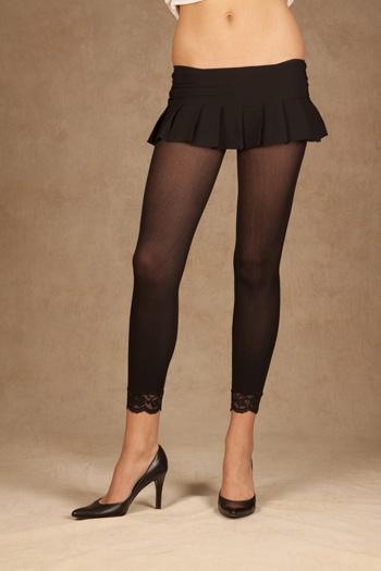 Lace Leggings Leggings with lace trim. Black Queen Size