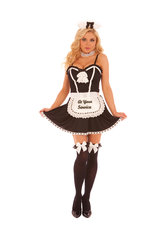 Light Up Maid Costume At Your Service - Light up Costume.  4 pc. costume includes dress, apron neck piece and head piece.
