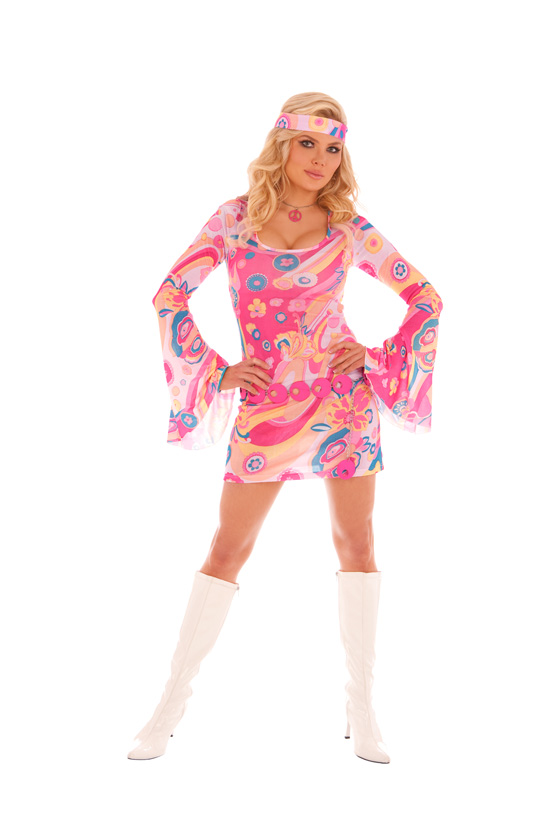 Retro Girl *NEW* 3 pc. costume includes bell sleeve mini dress belt and scarf. Boots sold separately