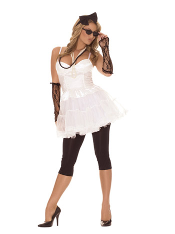 '80s Rock Star Costume 6 pc. Costume includes dress, leggings, lace gloves, pearl necklaces, hair piece and sunglasses.