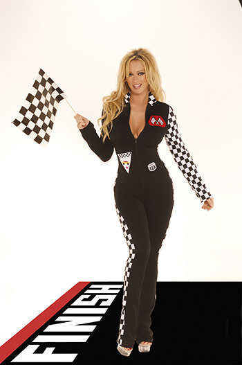 Racecar Driver Jumpsuit *NEW* Racecar Driver costume includes front zip up jumpsuit with checkered sleeves & sides. Racing flag also included.