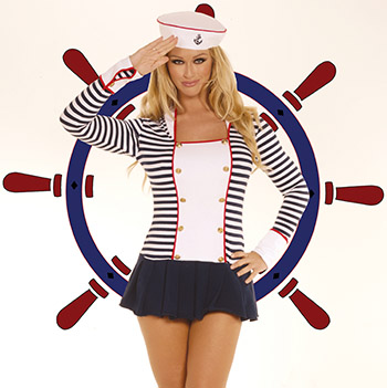 Sailor Costume Ships Ahoy with this sailor costume includes blue & white striped long sleeve mini dress with navy blue ruffle bottom & sailor hat.  One size fits most.