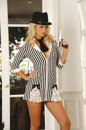 Gangster Girl 3pc costume includes dress with 3/4 sleeves, tie and gun