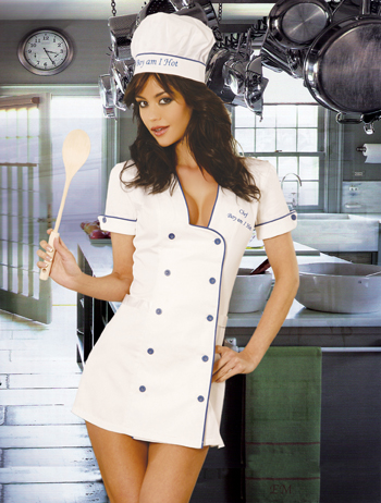 Sexy Chef Keep it hot in the kitchen with this 3pc chef costume. Includes white button front mini dress, hat and spatula.