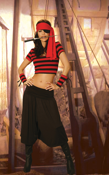 Pirate Babe 6pc costume includes gaucho pants, crop top, arm bands, head scarf, eye patch and dagger.