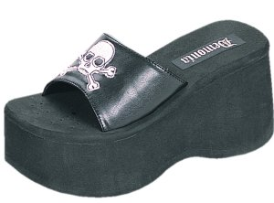 Funn-22 Skull Sandals *NEW* NEW!! Slip on sandals with skull embroidery on top of foot strap. Color as shown in black PU with white skull. Heel Height: 3 1/2