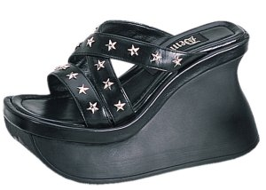 Pace-02 Star Sandals *NEW* NEW!! Slip on sandals with star studs on top of foot straps. Curved front of shoe. Heel height: 4 1/2