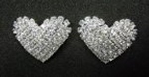Rhinestone Heart Earrings *NEW* NEW!! Rhinestone earring in the shape of hearts. Size is 1 inch.