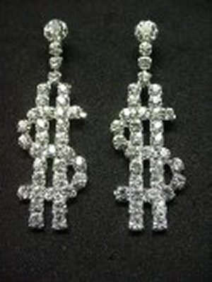 Dollar Sign Earrings *NEW* NEW!! Rhinestone earrings in the shape of dollar signs. Feel like a million bucks, or just pass the hint that you'd like some dollars with these eye catching earrings. These earrings are 2 inches in size.