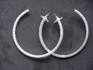 Large Hoop Earrings *NEW* NEW!! Rhinestone hoop earrings. Larger than others offered. Size is 2 1/2 inches.