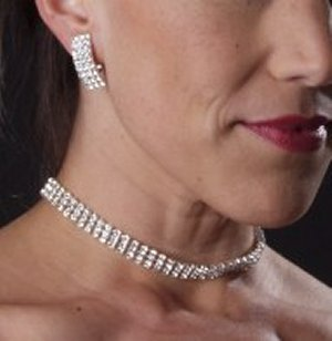 3 Row Choker Set *NEW* NEW!! 3 Row rhinestone choker with matching earrings.